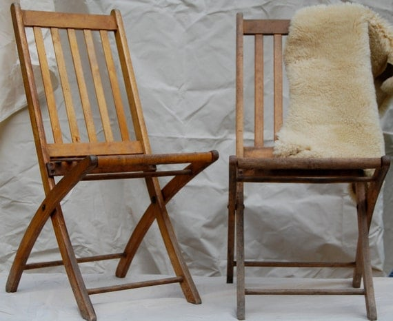 vintage wooden folding chair set by enhabiten on etsy