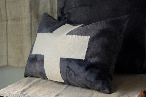 vespertine lavender and buckwheat hull cross pillow