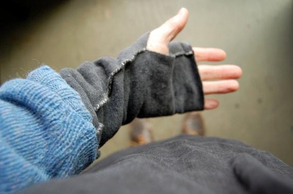 arm warmers organic hemp fleece naturally hand dyed grey black
