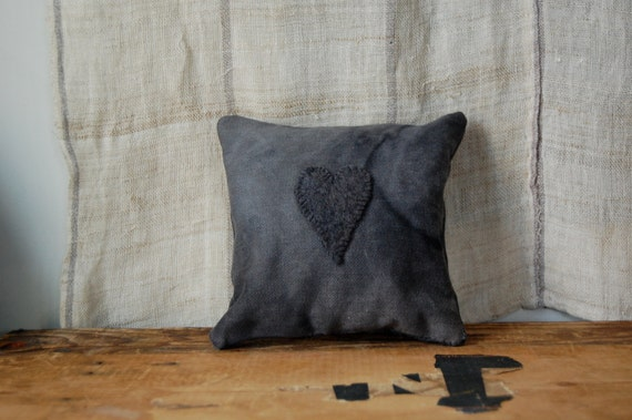 black heart mini cushion