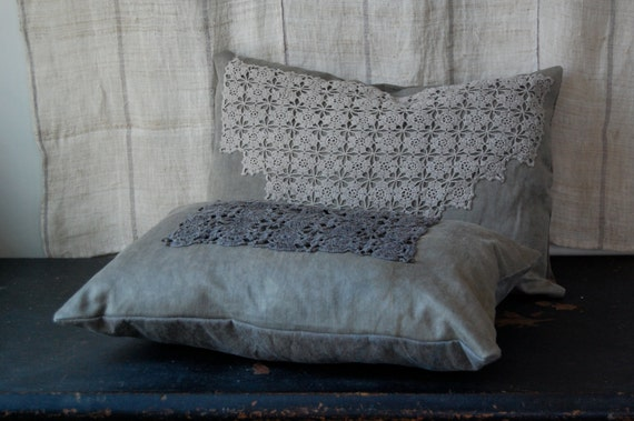 SALE pillow set organic hemp canvas natural hand dyed with vintage dyed doilies