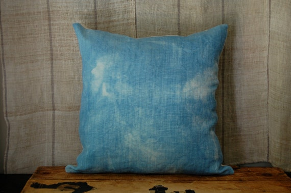 RESERVED FOR LAURELINE faded indigo pillow organic hand dyed