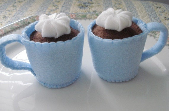 Two Light Blue Mugs of Hot Chocolate Eco Friendly Felt Play Food