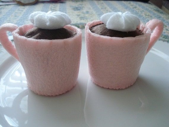 Two Pink Mugs of Hot Chocolate Eco Friendly Felt Play Food