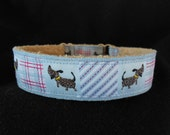 Softie Faux Shearling Tag Collar with Cute Dog and Preppy Plaid Ribbon 12-15