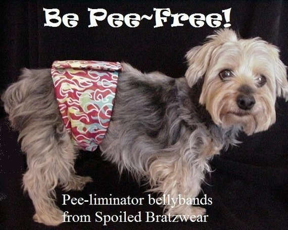 BE PEE FREE with PEE liminators soft flannel and fleece belly bands keep male dogs from marking...SMALL