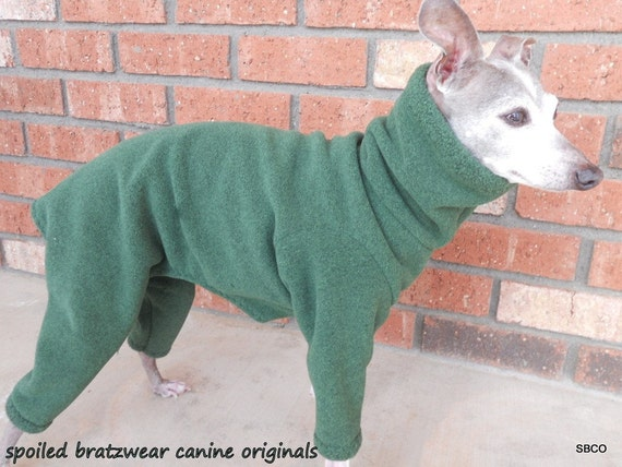 Italian Greyhound Wind Resistant Outdoor Body Suit- Custom Made Chive Black