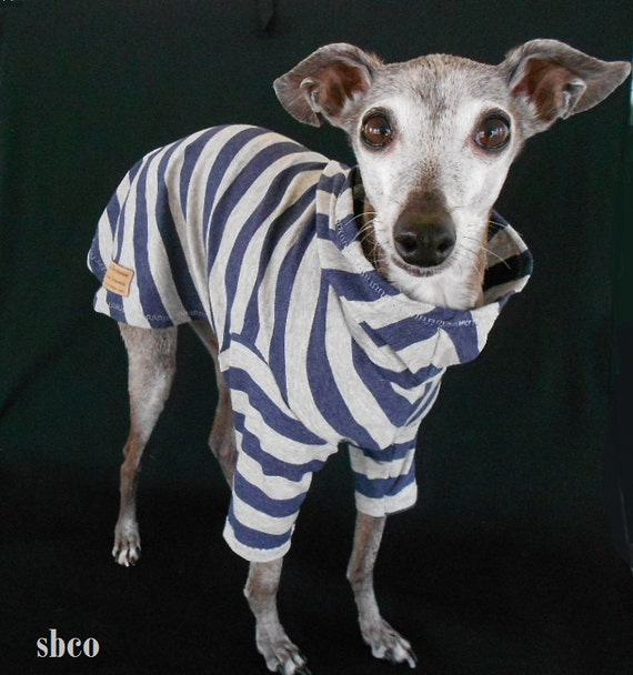 Navy and Gray Striped Leightweight Cotton Interlock Dog Hoodie-custom made for Italian greyhounds-SMALL