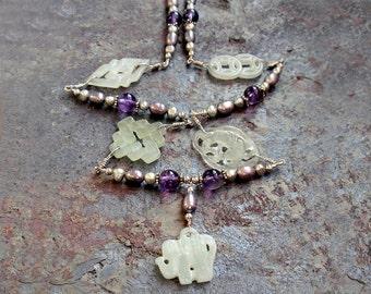 Carved Jade Necklace Amethyst Freshwater Pearls Sterling Silver Birthstones Metaphysical Healing Stones