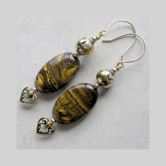 JEWELRY SALE Tiger Eye and Gold Earrings- Enchantment