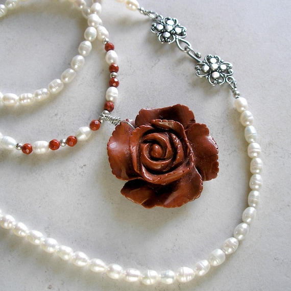 """Rose Necklace with Pearls and Sterling Silver- """"Love is a Rose"""""""