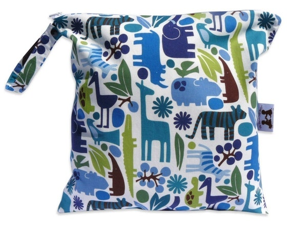Small Wet Bag in Blue Zoo with Snap Handle