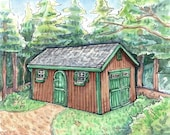 Smallish Painting of Our Cabin in the Adirondacks