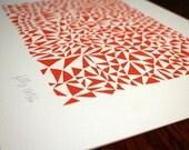 Triangular letterpress print, orange