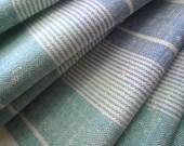 Vintage Linen Tea Towel Mid Century Summer Colors Circa 1960 Ocean Blue Sea Glass Green