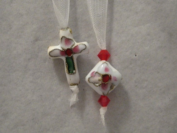 Spiritual Ribbon Bookmark (white cloisonne cross)