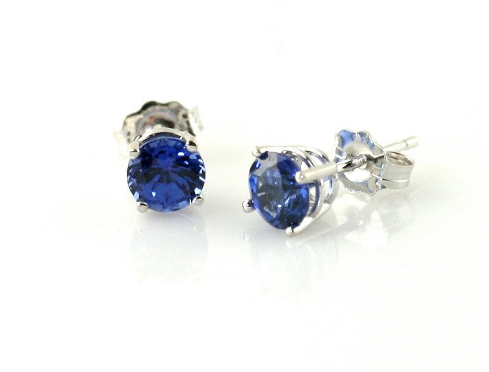 14K Blue Sapphire Stud Earrings Gemstone Stud by RareEarth ...