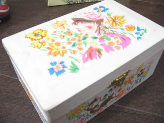 vintage ballerina kitty music jewelry box