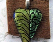 Fused Glass Heart Dichroic Pendant Olive Green