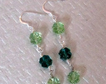 Shamrock Swarovski Earrings -  St. Patricks Day Earrings - Clover Earrings - St Patrick's Day Jewelry - Irish Earrings Wire Wrapped Earrings