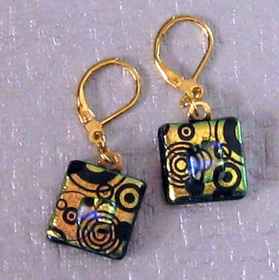 Gold Dichroic Earrings, Fused Glass Jewelry, Dichroic Glass Jewelry,