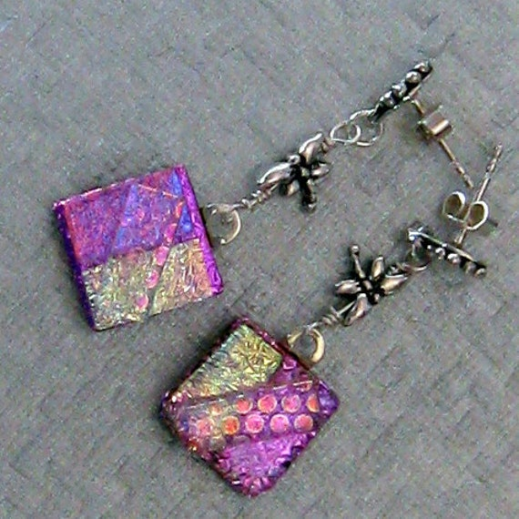 Dragonfly Dichroic Earrings, Pink Fused Glass Earrings, Dichroic Jewelry, Dangle Earrings, Fused Glass