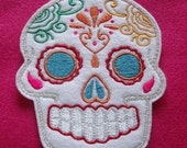 Day of the Dead, Sugar Skull Embroidery Patch blue eyes