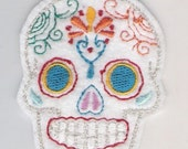 Mini Mexican Sugar Skull embroidery patch blue eyes white