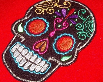 Day of the Dead, Black Sugar Skull Embroidery Patch orange eyes