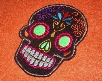 Day of the Dead, Sugar Skull Embroidery Patch green eyes overnight shipping