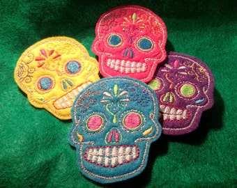 Mini Mexican Sugar Skull embroidery 4 piece patch set multi colors felt 2inX3in
