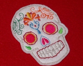 Mini white Mexican Sugar Skull embroidery patch
