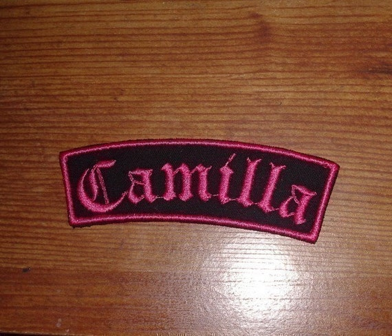Old english embroidery name patch black wit hot pink stitching