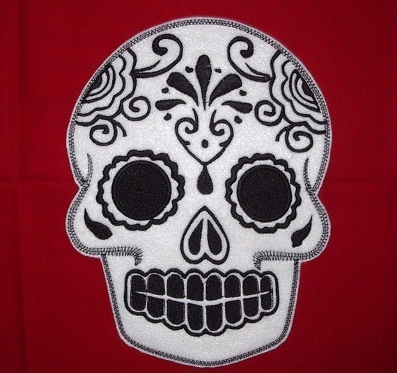 Sugar Skull, Day of the Dead, embroidery