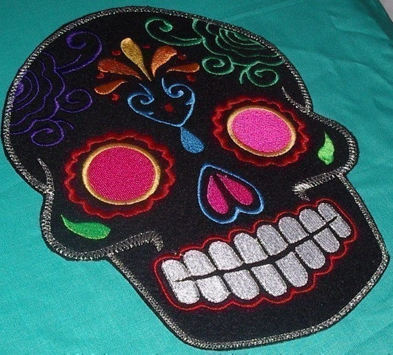 Sugar Skull embroidery patch 8X10 in. black multi pink eyes Dia de los Muertos