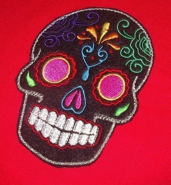 Day of the Dead Sugar Skull EMBROIDERED patch '8'