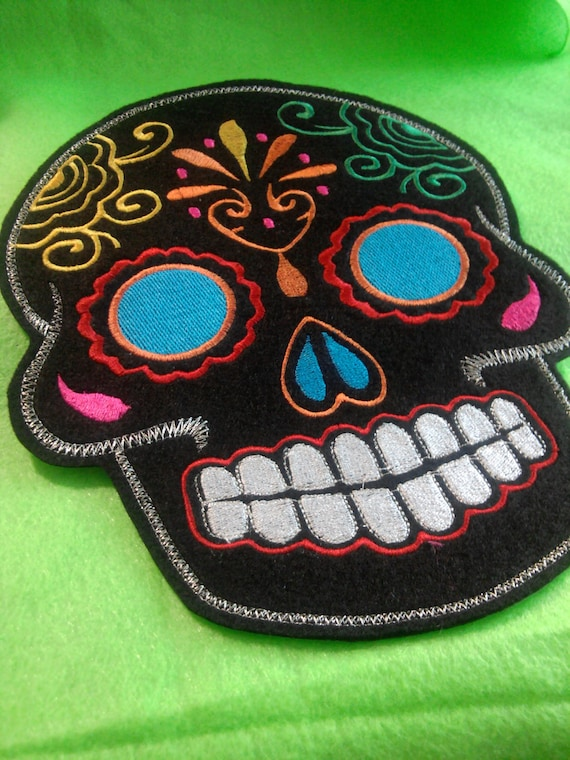 Sugar Skull embroidery patch 8X10 in. black multi turquoise blue eyes Dia de los Muertos