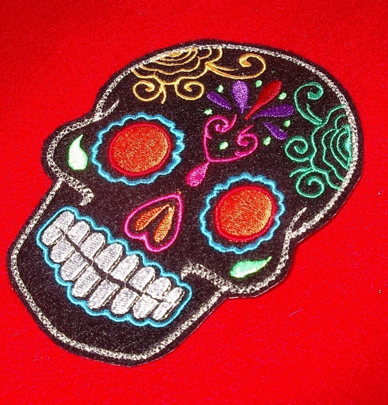 Day of the Dead Black Sugar Skull Embroidery Patch orange