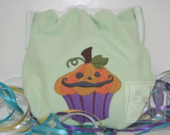 Embroidered Pumpkin Cupcake Cloth Pocket Diaper