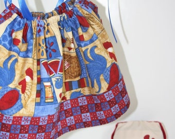 The Rooster Picnic NB - 6M Pillowcase Dress and Embroidered Pocket Diaper Set