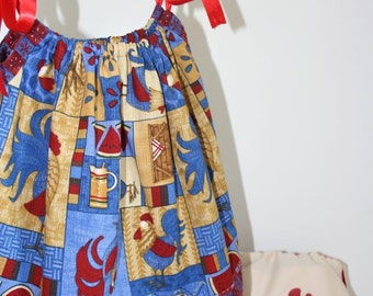 The Rooster Picnic 12M - 18M Pillowcase Dress and Embroidered Pocket Diaper Set