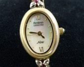 Vintage Armitron PEARL rhinestones ladies watch...Works new battery