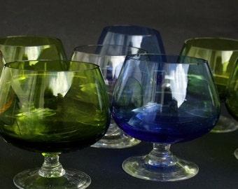 Vintage liquor Colored glasses Set of 8