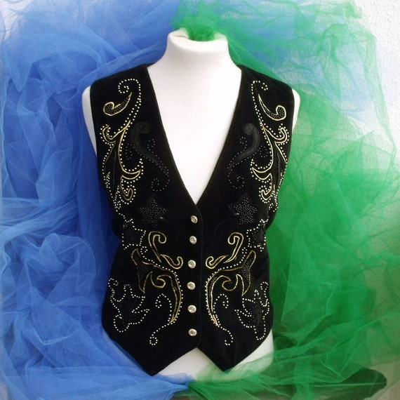 Vintage Black velvet GOLD embroidered vest