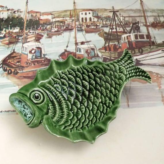 Vintage Portuguese Fish majolica ceramic dish