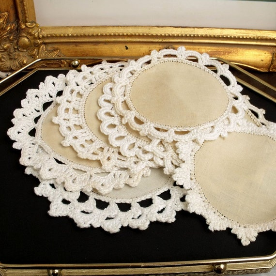 Vintage LINEN with Crochet doilies coasters or for crafts......Set of mix 7