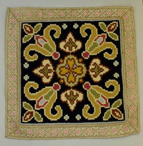 Vintage Portuguese Arraiolos tapestry embroidery panel