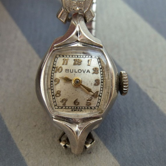Vintage 60s Bulova Ladies Watch 10k White Gold Works