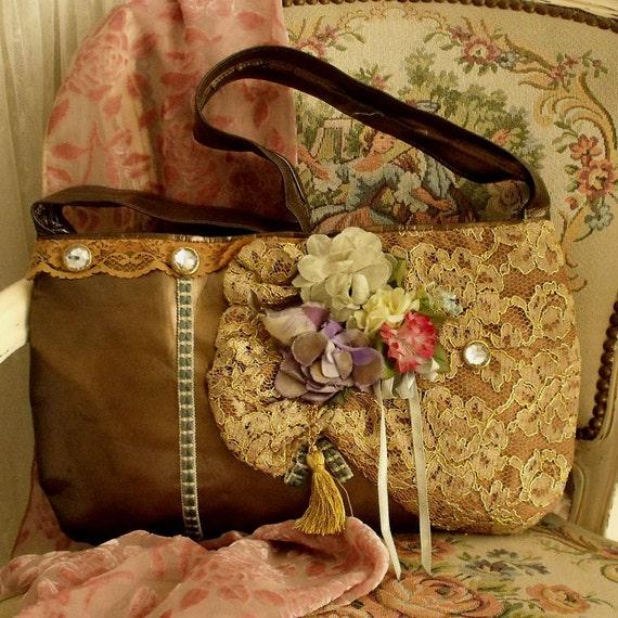 Vintage Bronze ornamented Flowers lace handbag.... Bird