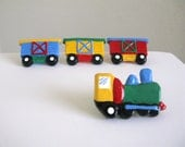 Green Train Drawer Knob - handmade drawer knob for kids